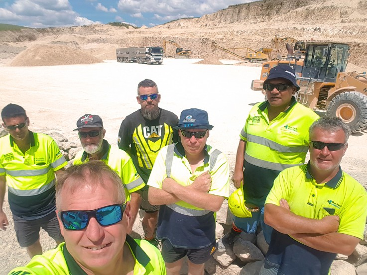 Shane and team at quarry